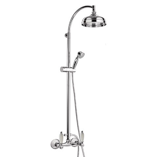 2-handle shower mixer with combi-shower column chrome with white handles,<br> AN: RT443689CR