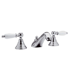 3-holes washbasin mixer chrome with white handles and pop-up waste,<br> AN: RT5003CR