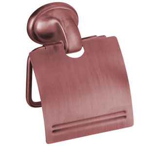 Nostalgic wall mounted toilet roll holder with cover copper brush-finished<br>AN: REPR91064