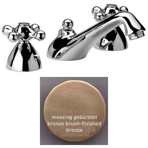 3-holes washbasin mixer bronze brushed-finished with pop-up waste,<br>AN: V500363