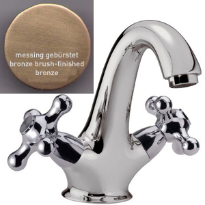 2-handle washbasin mixer bronze brush-finished with Click-Clack waste,<br>AN: V511263