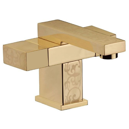 2-handle washbasin mixer shiny gold with ornament decoration,<br>AN: W5110YG82