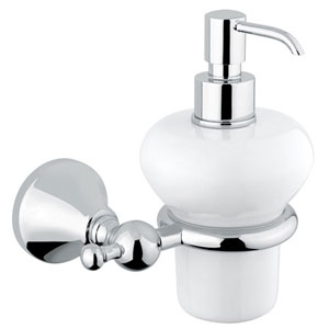Nostalgic wall mounted ceramic liquid soap dispenser with holder chrome<br>AN: 19CRA231