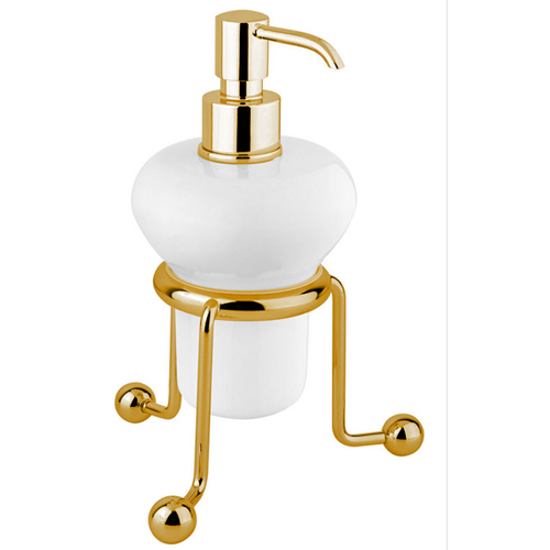Nostalgic standing ceramic liquid soap dispenser gold 24 Karat<br>AN: 19OOA241