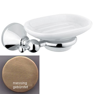 Nostalgic wall mounted ceramic soap dish with holder bronze brush-finished<br>AN: 19ZZA031