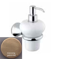 Nostalgic wall mounted ceramic liquid soap dispenser with holder bronze brush-finished<br>AN: 19ZZA211
