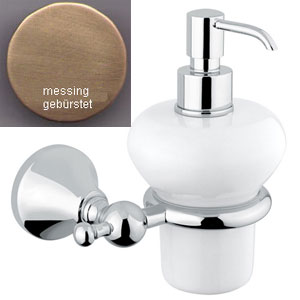 Nostalgic wall mounted ceramic liquid soap dispenser with holder bronze brush-finished<br>AN: 19ZZA231