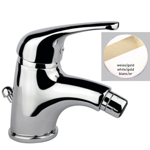 Single lever bidet mixer white / gold with pop-up waste,<br>AN: 39BO3210