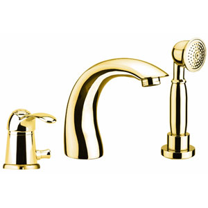 3-holes deck mounted bath mixer with spout gold 24 Karat,<br>AN: 47OO5105