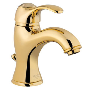 Single lever washbasin mixer gold 24 Karat with pop-up waste,<br> AN: 47OO5221