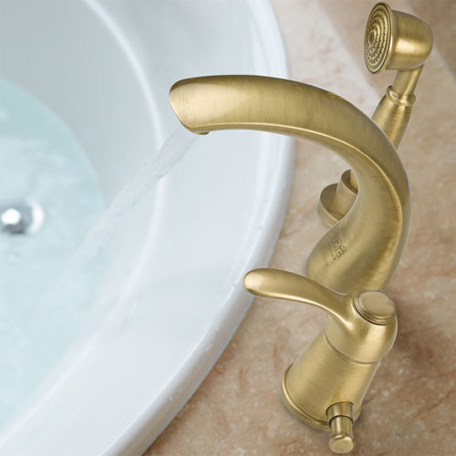 3-holes deck mounted bath mixer with spout bronze brushed-finished,<br>AN: 47ZZ5105