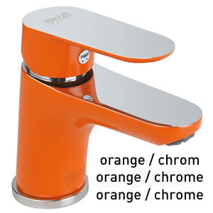Mitigeur de lavabo orange / chrome avec vidage automatique et flexibles d'alimentation, <br>AN: 81OX8120