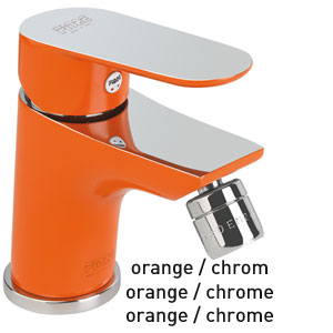 Single lever bidet mixer orange / chrome with pop-up waste, <br>AN: 81OX8130