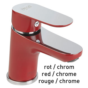 Single lever washbasin mixer red / chrome with pop-up waste, <br>AN: 81RX8120