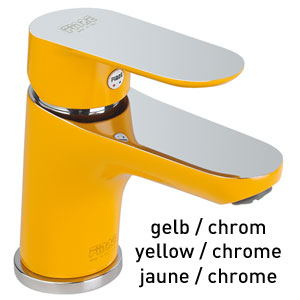 Single lever washbasin mixer yellow / chrome with pop-up waste, <br>AN: 81YX8120