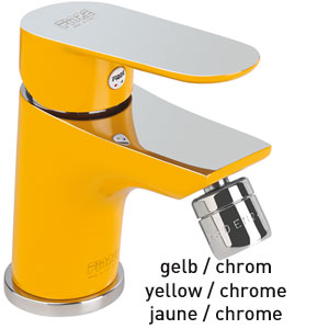 Single lever bidet mixer yellow / chrome with pop-up waste, <br>AN: 81YX8130