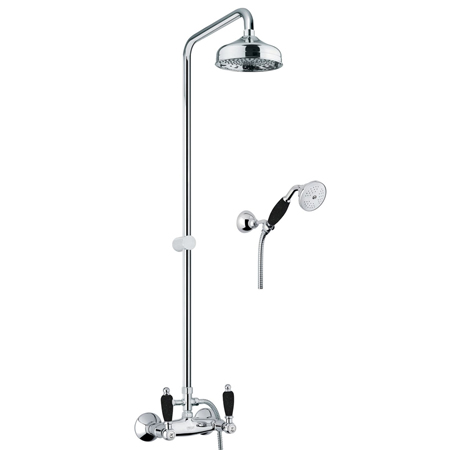 Nostalgic 2-handle shower mixer chrome with black handles and column, shower head, handshower,<br>AN: 22CR0620