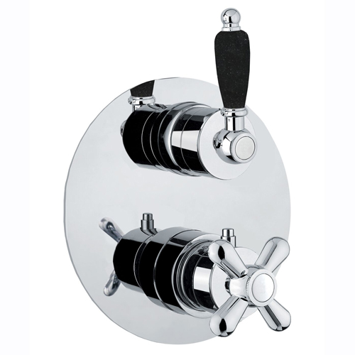 Thermostatic built-in mixer chrome with black handle,<br>AN: 22CR0933