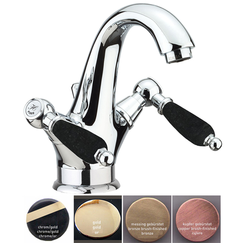 Nostalgic 2-handle washbasin mixer with black handles and pop-up waste,<br>AN: 22__0623
