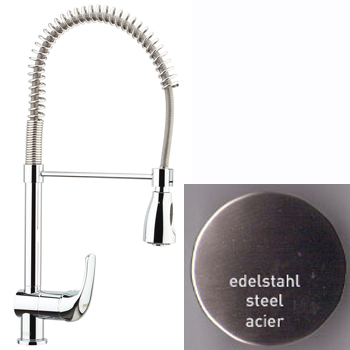 Single lever sink mixer steel with swing arm shower,<br>AN: 39AA5465