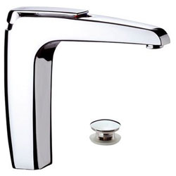 High single lever washbasin mixer chrome with click-clack waste without overflow,<br>AN: A10LB