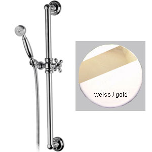 Nostalgic slidung rail shower set white / gold,<br>AN: 317L323WG
