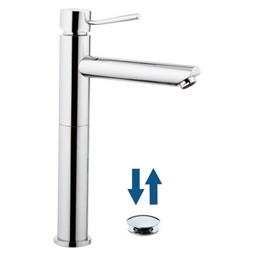 Single lever washbasin mixer extra high and long spout chrome with click-clack waste,<br>AN: N10LXLB