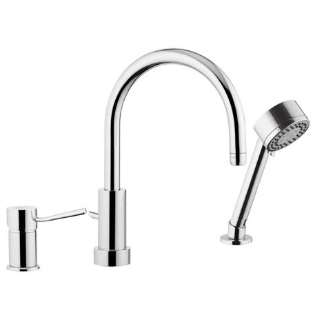 3-holes deck mounted mixer with spout and shower chrome,<br>AN: N48319MO