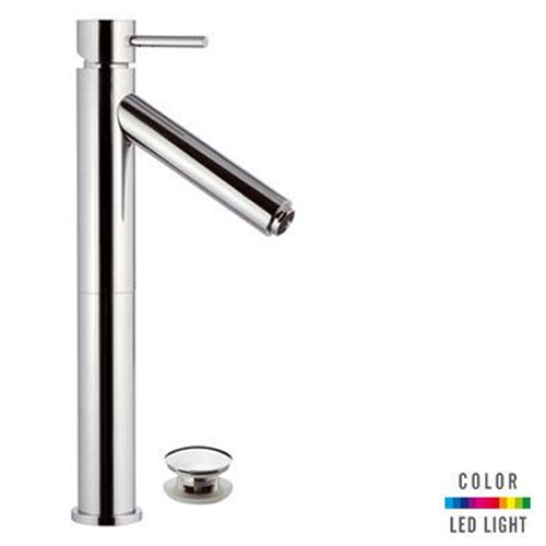 High single lever washbasin mixer chrome with click-clack waste (with overflow) and Color LED Light,<br>AN: NR10L2