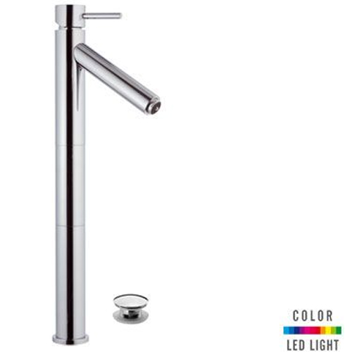Extra high single lever washbasin mixer chrome with click-clack waste (with overflow) and Color LED Light,<br>AN: NR10LXL2
