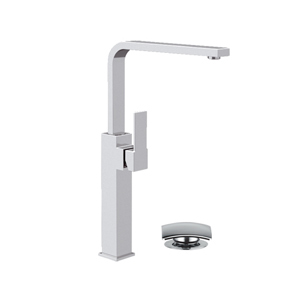 Extra high square single lever washbasin mixer with swivel spout and click-clack waste chrome, <br>AN: Q10GLXL