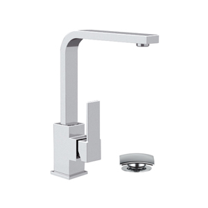Square single lever washbasin mixer with swivel spout and click-clack waste chrome, <br>AN: Q10G