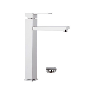 High square single lever washbasin mixer with long spout and click-clack waste chrome, <br>AN: Q10LB
