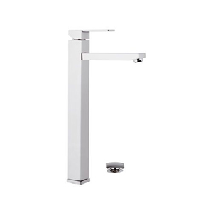 Extra high square single lever washbasin mixer with click-clack waste chrome, <br>AN: Q10LXL
