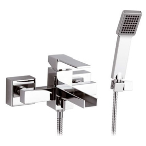 Square single lever bathtub mixer with waterfall spout and shower set chrome,<br> AN: QC02