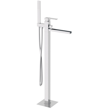 Floor mounting square single lever bathtub mixer with waterfall spout and shower set chrome, <br>AN: QC08