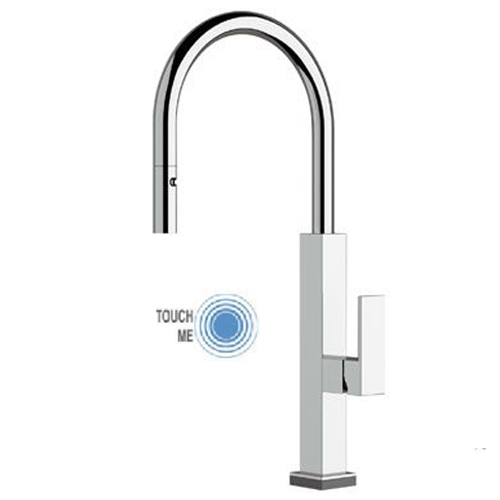 Sink mixer chrome with TOUCH-ME PRO technology and pull-out handshower,<br>AN: QKT73