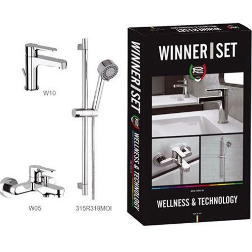 SET: Single lever washbasin mixer with pop-up waste,  bathtub mixer and shower set
