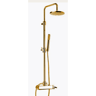 Wellness single lever shower mixer with column, shower head and handshower gold 24 Karat, handle with Swarovski Crystals,<br>AN: AS870105010