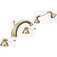 Nostalgic 4-holes deck mounted bath mixer gold 24 Karat,<br>AN: DO730101010