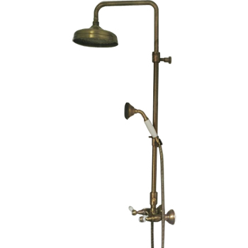 Nostalgic 2-handle shower mixer with column, shower head and handshower bronze brush-finished,<br>AN: DO760405065