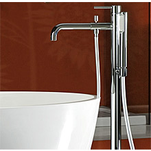 Single lever bathtub mixer with floor connections and shower set chrome,<br>AN: EL851101015