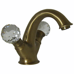 2-handle washbasin mixer bronze brush-finished with original Swarovski Crystal handle and pop-up waste,<br>AN: KA700101065