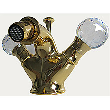 2-handle bidet mixer gold 24 Karat with original Swarovski Crystal handle and pop-up waste,<br>AN: KA710101010