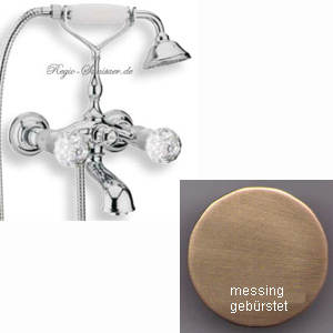 2-handle bathtub mixer with original Swarovski Crystal handle and shower set bronze brush-finished,<br>AN: KA720201065