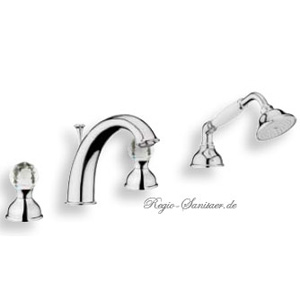 4-holes deck mounted bath mixer chrome with original Swarovski Crystal handle,<br>AN: KA730101015
