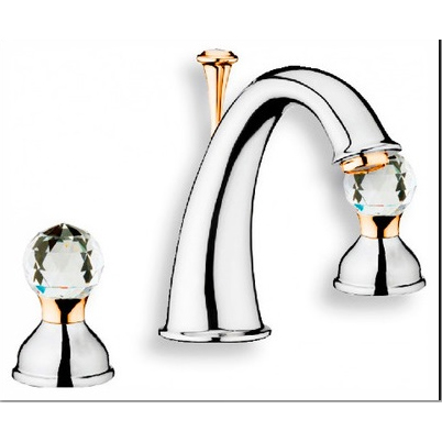 2-handle 3-holes washbasin mixer chrome / gold with original Swarovski Crystal handle and pop-up waste,<br>AN: KA750101017