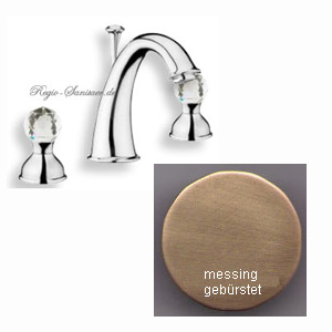 2-handle 3-holes washbasin mixer bronze brush-finished with original Swarovski Crystal handle and pop-up waste,<br>AN: KA750101065