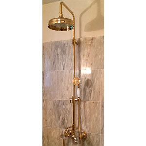2-handle shower mixer with column, shower head and handshower gold 24 Karat and original Swarovski Crystal handle,<br>AN: KA760405010