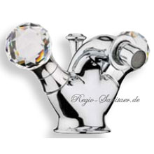 2-handle bidet mixer chrome with original Swarovski Crystal handle and pop-up waste,<br>AN: KA710101015